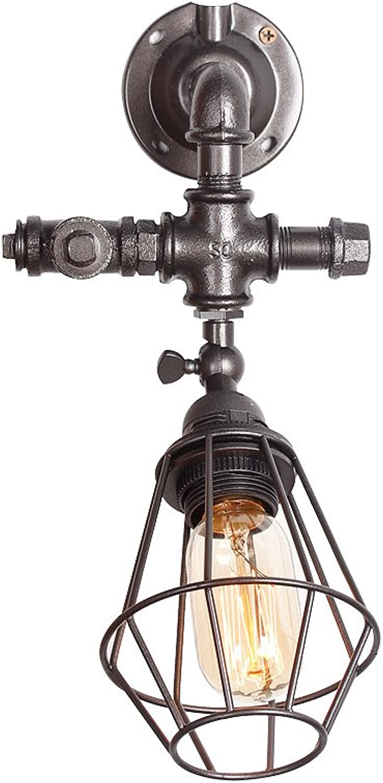 CXM-Wall lamp Retro Nostalgiker Stil Gang Wohnzimmer Bar Bronze Wasser Rohr Eisen Wand Lampe (Farbe   Silber schwarz)