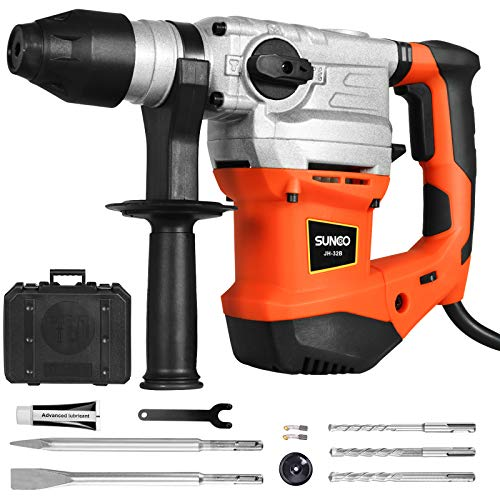SUNCOO SDS-Plus Rotary Hammer Drill, 13.2 Amp Demolition Hammer with 4400BPM, 950RPM, 7Joules Impact Energy, Safety Clutch and Vibration Control, Including 3 Drill Bits, Flat Chisel, Point Chisel