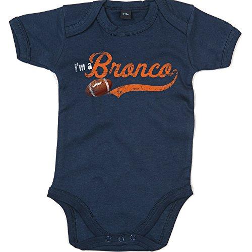 I'm a Bronco #1 Babystrampler Super Bowl Play Offs American Sports USA Vintage Bodysuit Babybody Babyeinteiler Oeko-TEX, Farbe:Blau (Nautical Navy BZ10);Größe:3-6 Monate