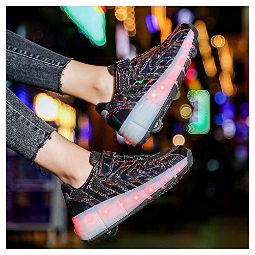 Enfants LED Chaussures à Skates avec Roues LED Clignotante Baskets Mode Chaussures à roulettes Outdoor Chaussures de Skateboard USB Rechargeable Shoes Sneaker pour Garçon FilleBlack-36