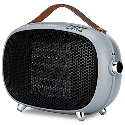 Space Heater, Teioe Small Space Heater for Bedroom, Mini Electric Space Heater with Tip-Over & Overheat Protection, Portable PTC Ceramic Space Heater for Office, indoor Use (GRAY)