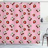 ABAKUHAUS Obst Duschvorhang, Erdbeeren & Kirschen, Hochwertig mit 12 Haken Set Leicht zu pflegen Farbfest Wasser Bakterie Resistent, 175x240 cm, Pale Pink Farn-Grün