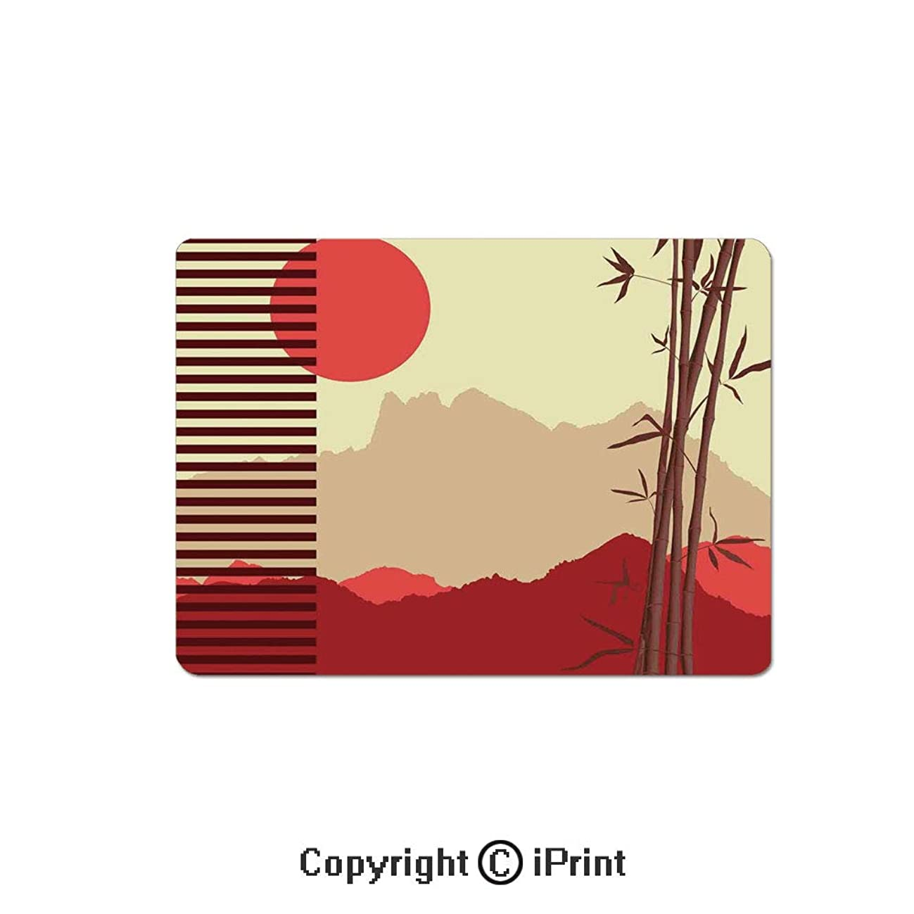 Oversized Mouse Pad,Modern Artwork with Japanese Bamboos and Mountain Silhouette Sun Boho Image Gaming Keyboard Pad,9.8x11.8 inch Non-Slip Office Computer Desk Mat,Red Yellow Brown