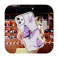 ファッション蝶花携帯電話ケースFor iPhone 11 12 Mini Pro X XR XS Max 8 7 Plus SE2クリアソフト-HD Purple-For Iphone12Mini 5.4