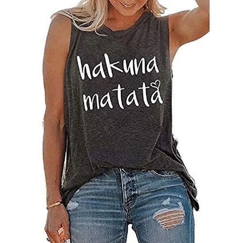 Damen Ärmelloses Hakuna Matata Love Weste Casual Rundhals Sommer Kleidung Tank Tops T-Shirt Gr. M, grau