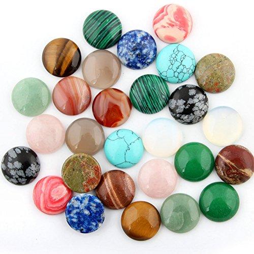 30pcs Cabochon Stone Beads 20x20mm Round Semi-Precious Gemstones Chakra Healing Crystal CAB Random Color Bulk for Necklace Jewelry Making(No Holes)