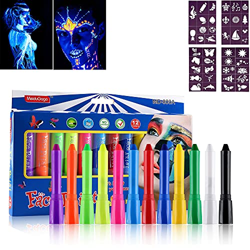 FANICEA Face Paint Crayons Professional 12 Colors High Pigmented Non-Toxic Washable Cosplay Halloween Face Body Painting Sticks Kit with 4 Pcs Tattoo Stencil for Kids and Adults