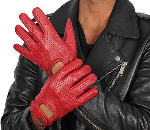 Mens Red Leather Biker Gloves - Adult Deerskin Motorcycle Gloves (L)