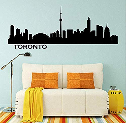 Preisvergleich Produktbild YAZCC Wandaufkleber Wandaufkleber Toronto Skyline Stadtbild Silhouette Vinylwand Aufkleber Büro College Schlaf Wohnzimmer Hauptdekor Wand Aufkleber 107X42Cmsize kann angepasst Werden