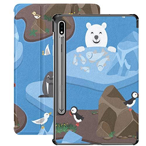 Funda Galaxy Tablet S7 Plus de 12,4 Pulgadas 2020 con Soporte para bolígrafo S, Arctic Cute Arctic Animals Funda Protectora Tipo Folio con Soporte Delgado para Samsung