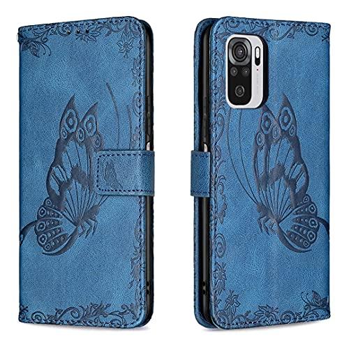 ShinyCase Redmi Note10 4G(Only 4G) Case,Carcasa de Telefono para Redmi Note10 4G(Only 4G),Mariposa en Relieve PU Piel Funda con Función de Soporte y Ranuras para Tarjetas - Azul