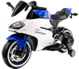 2020 Ride On Kids Motorcycle 12V for Kids 3-7 Years Old w/ Soft Leather Seat, Training Wheels Never Fall Over   Large 12V Power Battery Licensed Kid Motorcycle to Drive - 3 Speeds, LED Lights, Music