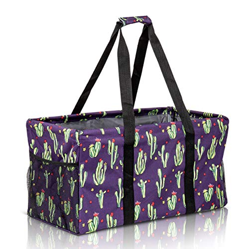 Extra Large Utility Tote Bag - Oversized Collapsible Reusable Wire Frame Rectangular Canvas Basket With Two Exterior Pockets For Beach, Pool, Laundry, Car Trunk, Storage - Cactus Purple