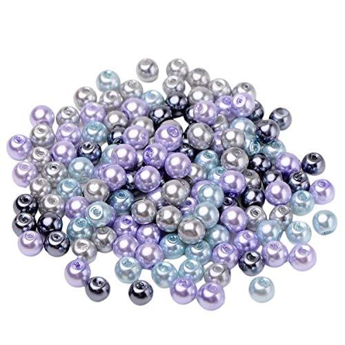 Sadingo Perlas de cristal, azul, plata y lila, 6 mm, 190 unidades, perlas de cristal coloridas para pulseras, collares, pendientes, joyas