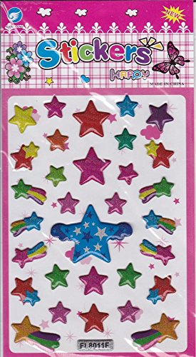 3D étoiles STAR Decal autocollant de décalque 1 Dimensions de la feuille: 16 cm x 8 cm