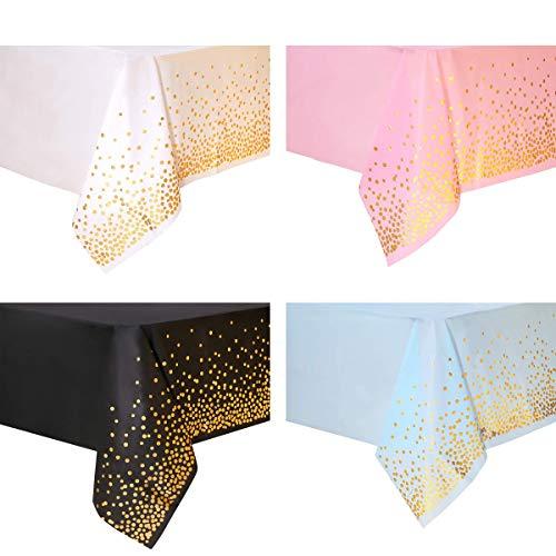 YuChiSX 4 pcs Puntos de Oro Rosa Cubiertas de Mesa Rectangulares, Fiesta Desechables Manteles Plásticos, para de Banquetes, Graduación, Cumpleaños, Cóctel, Navidad, Bodas, Housewarming (137 x 274 cm)