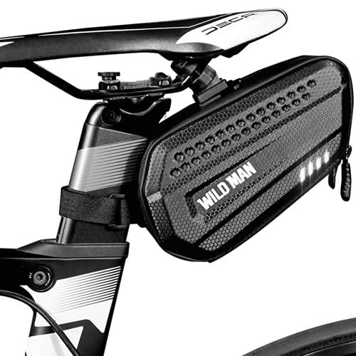 """LUROON Bolsa Bicicleta Sillin Impermeable 1.2L Bolsa para Sillín de Bicicleta Dura PU Bolsa para Bicicleta de Montaña, Gran Capacidad para Minibombas, Llaves, Teléfonos (6,8""""), etc. (Negro)"""