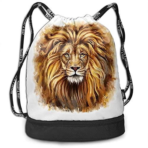 AOOEDM A Big Lion Head Kordelzug Rucksack Sport Gym Bag Unisex Fitness Rucksack Multifunktionaler Beam Mouth Rucksack