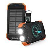 BLAVOR Batterie Externe Solaire 10000mAh Chargeur Portable avec Panneau Solaire, Splashproof, Antipoussière, Antichoc Power Bank avec Double Lampe de Poche, Port d'entrée de Type C, Boussole (Orange)