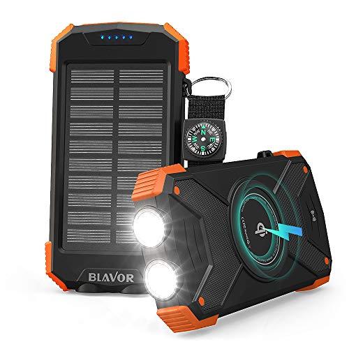 BLAVOR Cargador Solar Móvil 10000mAh Batería Externa Portátil Qi Power Bank Tipo C Puerto de Entrada Linterna Dual, Brújula, A Prueba de Salpicaduras, DC5V / 2.1A (Naranja-10000mAh)