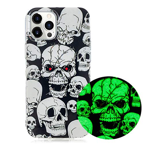 LUVI for iPhone 12 Pro Max Case Glow in The Dark Noctilucent Darkness Fluorescent Protective Cover Clear Ultra Thin Slim TPU Rubber Silicone Case for iPhone 12 Pro Max 6.7 inch Skull