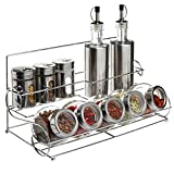 Stainless Steel Condiment Set with 2 Oil Cruets, 3 Spice Shakers, 5 Glass Canister Jars, and Chrome...