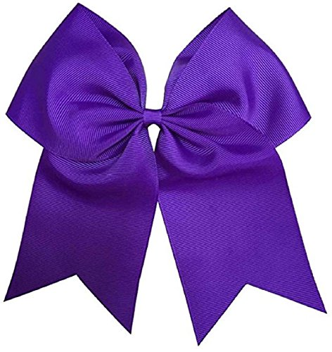Kenz Laurenz Cheer Bows Purple Cheerleading Softball - Gifts for Girls and Women Team Bow with Ponytail Holder Complete Your Cheerleader Outfit Uniform Strong Hair Ties Bands Elastics (5)