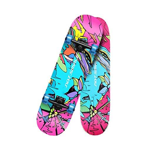 KHUY Skateboard Longboard 80 X 20cm Skateboard Cruiser para Adulto y Ni?os, Monopatin 7 Capas Arce Longboard Surfskate Completos para Niños Niño Chica Niia Principiantes (Color : Style J)