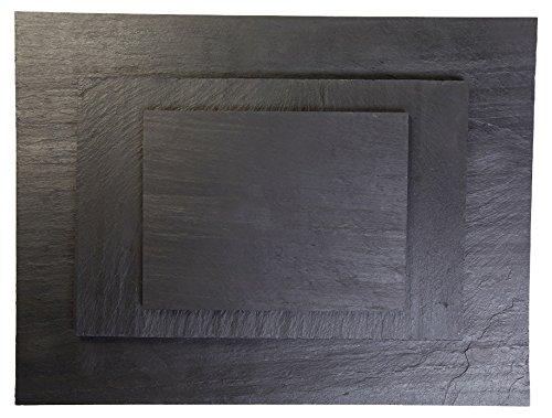 Izasur-Spain Mini Vajilla, Piedra, Negro, 40x20 cm, 30x20 cm, 25x15 cm, 3 Unidades