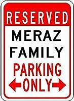 屋外庭安全標識アルミ看板、メラズ家族駐車場、壁看板面白い鉄絵ヴィンテージ金属プラーク装飾警告看板吊りアートワークポスター用バーパーク