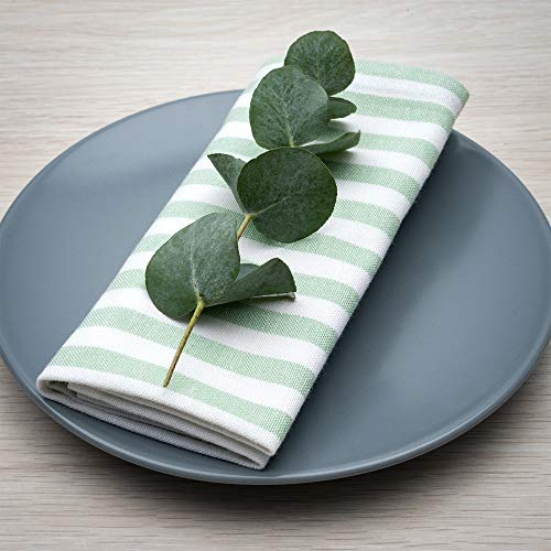 FILU Servietten 8er Pack Mint/Weiß gestreift (Farbe und Design wählbar) 45 x 45 cm - Stoffserviette aus 100% Baumwolle im skandinavischen Landhausstil