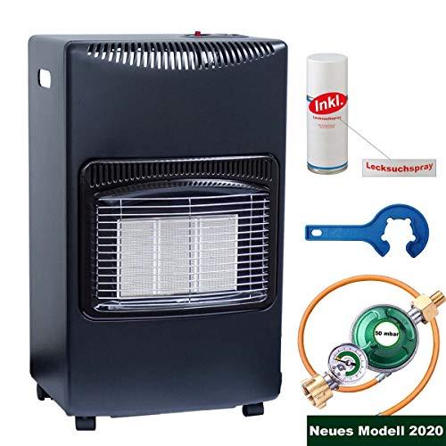 Gas-Ofen Heizofen Infrarot Heizstrahler 4,2 kW Camping-Heizung für Propangas-Kleinflaschen inkl. Schlauch Gasregler Lecksuchspray mit Gas-Füllstandsanzeige