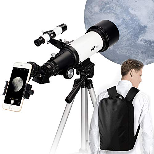70mm Aperture 400mm AZ Mount Astronomical Refractor Telescope, Good Gift for Observe The Moon and Landscape - Portable Travel Scope with Backpack