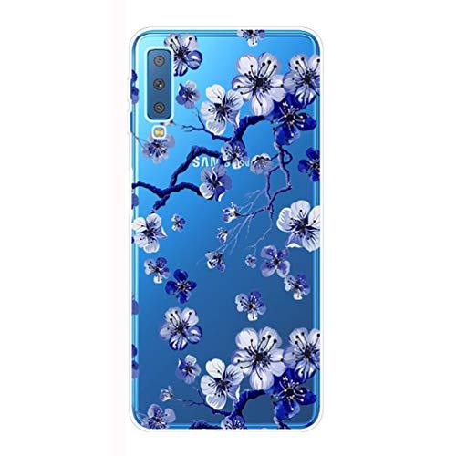 CXvwons Custodia Samsung Galaxy A7 2018 Cover Custodia Summer Cartoon Series Caso Silicone Galaxy A7 2018 Anti-Graffio Custodia Copertura Protettiva per Samsung A7 2018 a750 (a7 2018, Fiore 5)