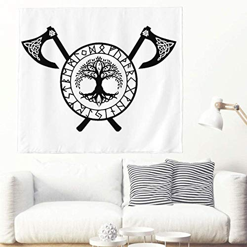 Black Ethnic Tree of Life Viking Rune Totem Tapestry Wall Hanging Celtic Tree Runes Crossed Axes Tattoo Wall Covering Nordic Mythology Tapestry-150x150cm_White