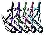 Braided Nylon Bitless Bridle w/Reins (Purple)
