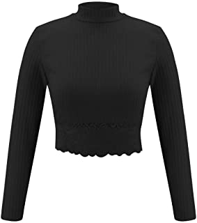Aunimeifly Women's Slim Fit Blouse High Neck Tops Ladies Lace Trim Side Top Long Sleeve T-Shirt Stylish Wild Shirts