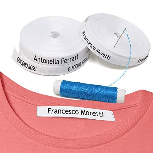 100 etichette personalizzate da CUCIRE con il nome per vestiti, grembiuli. Ideale per appendere i cappotti dei bambini a scuola, asilo nido, case di riposo.