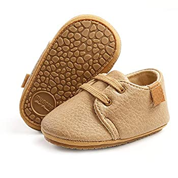 SOFMUO Baby Boys Girls Lace Up Leather Sneakers Soft Rubber Sole Infant Moccasins Newborn Oxford Loafers Anti-Slip Toddler Wedding Uniform Dress Shoes A/Khaki,0-6 Months