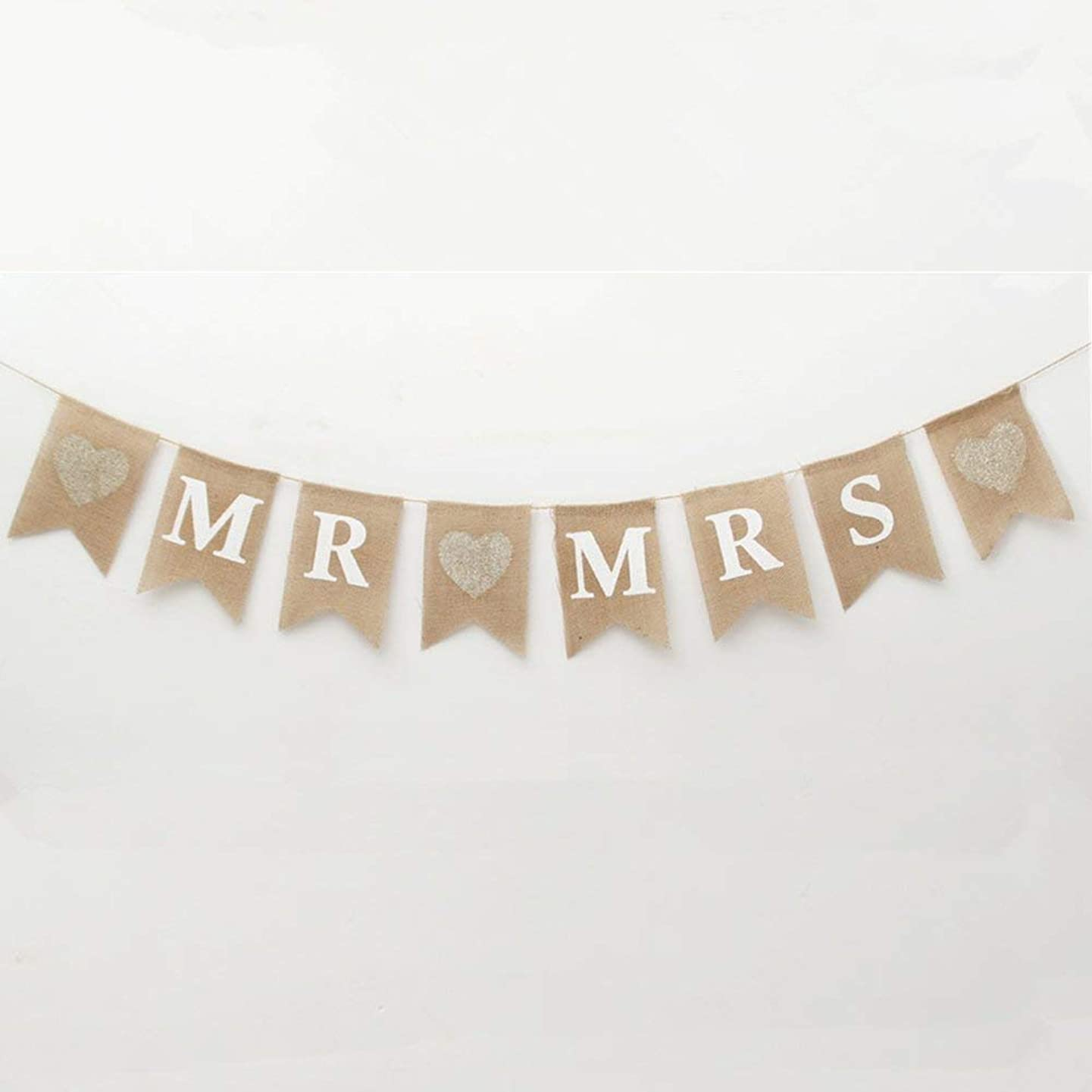 MR and MRS Burlap Flag Bunting Banners Garland Linen,Environmental,Protection,Vintage Rustic Wedding Table Hanging Signs for Bridal Shower, Wedding Photo Booth Props Backdrop Decoration 8 Pcs Flag