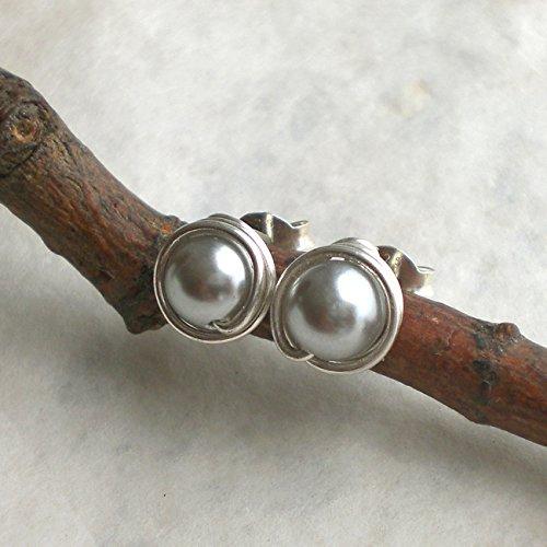 Silbergraue Muschelkern Ohrstecker 925 Silber, eingefasste Perlenohrstecker grau Sterlingsilber