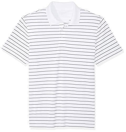 Amazon Essentials Herren-Golf-Poloshirt, schmale Passform, schnelltrocknend, white, L