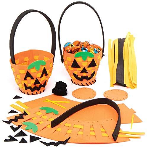 Baker Ross AX253 Kürbis Webkörbe Bastelset für Kinder - 4 Stück, Saisonale Kreativsets und Bastelbedarf zum Basteln und Dekorieren in der Herbstzeit
