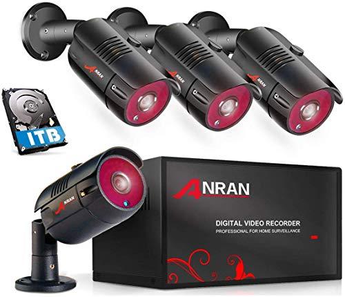 ANRAN 【2020 Nuevo】 4CH DVR Kit Cámaras de Videovigilancia AHD DVR Kit de Vigilancia 4 Cámaras de Seguridad Exterior 1080P, Detección de Movimiento y Alarma, Visión Nocturna, 1TB HDD