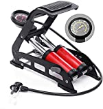 Lyrovo Double Cylinder Portable Foot Pump Air Tyre Inflator with Pressure Gauge for Car Tyres,...