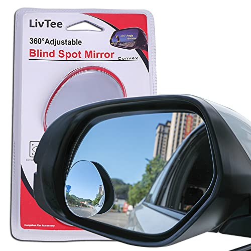 LivTee Blind Spot Mirror, Oval HD Glass Frameless Convex Rear View Mirror with...