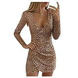 Adeliber Womens Sexy V-Neck Slim Sequin Dress Slim Elegant Banquet Dress(Rose Gold,L)