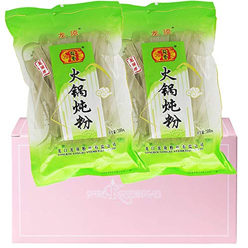 Chinese Extra Wide Glass Noodles 10.6oz(300g) Pack of 2 for Tteokbokki Malatang Shabu Hot Pot in a PINKRISTMAS Gift Box