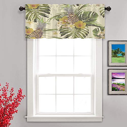 Shrahala Beautiful Floral Tropical Kitchen Valances Half Window Curtain, Beautiful Floral Pineapple Tropical Flowers Palm Leaves Kitchen Valance for Window Ink Printing Valance for Decor 52x18 inch