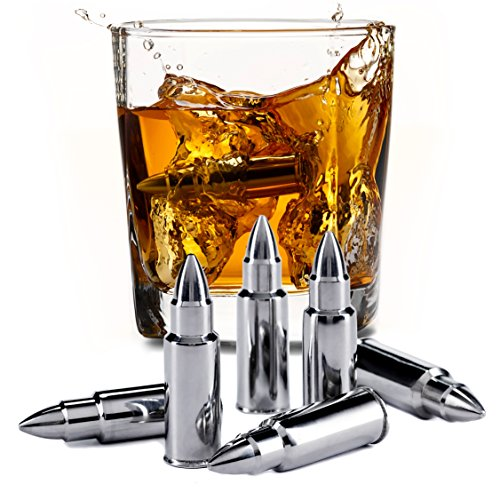 Stainless Steel Bullet Shaped Whiskey Stones Set of 6 - Chilling Rocks - Ice Stones With Tongs And Freezer Pouch, Gift Idea for Whiskey Lovers